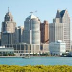 The urban landscape of downtown Detroit, Michigan