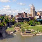 A waterfall and river in Rochester, New York
