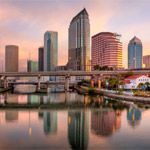 The Tampa, Florida skyline at sunrise