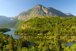 A river, mountains, and trees are seen in Glacier National Park, MT (Montana)