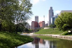 Omaha, NE (Nebraska) seen from a city park