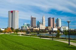Columbus, OH (Ohio) as seen from a riverbank park