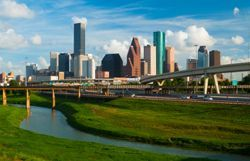 The Houston, TX (Texas) skyline seen from afar