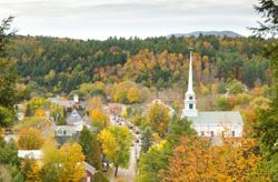 Fall trees in the city of Stowe, VT (Vermont)