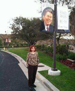 Joan London outside the Reagan Presidential Library in Ventura, CA