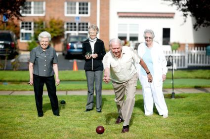 Senior Adults Playing Bocce Ball